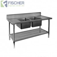 Stainless Steel Center Double Sink Bench 2200mm - Pipe Under Shelf - FSA-2-2200C