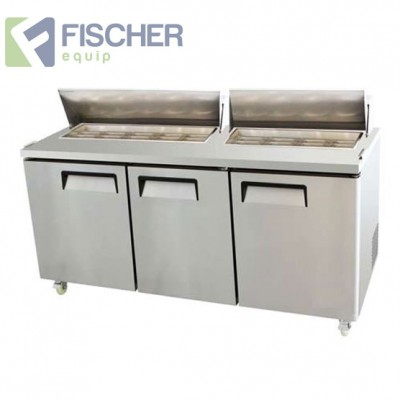 Fischer Three Door Sandwich Fridge - USS03-SS