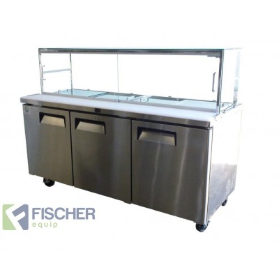 Fischer Three Door Sandwich Fridge USS03-GL v2