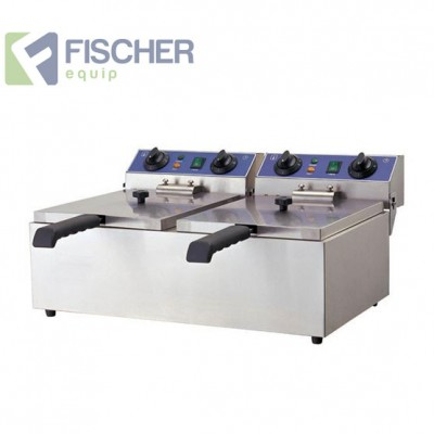 Fischer Electric Twin Commercial Deep Fryer - 2 x 10L - 15amp