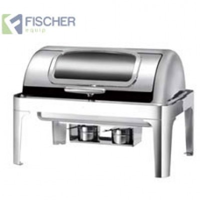 Fischer Luxury Stainless Steel Bain Marie Roll-Top Chafer Window