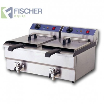 Fischer Electric Twin Pan Commercial Deep Fryer - 2 x 10L - 15amp