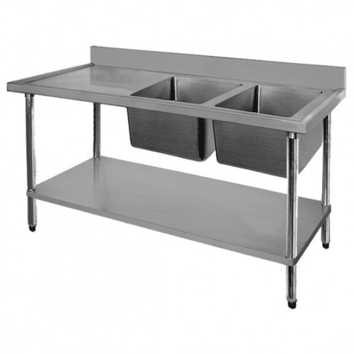 Stainless Steel Right Inlet Double Sink Bench 1800mm