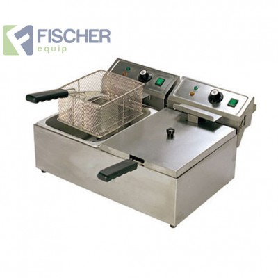 Fischer Electric Commercial Twin Deep Fryer - 2 x 10L