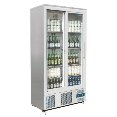 Polar Double Sliding Door Upright Back Bar Cooler