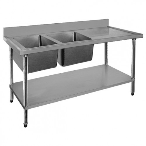 Stainless Steel Bench With Sink Stainless Steel Left Inlet Double Sink Bench 1800mm